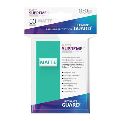Ultimate Guard Supreme UX Sleeves Standard Size Matte Turquoise